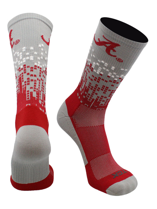 Alabama Crimson Tide Downtown Crew Socks (Grey/Crimson/White, Large) - Grey/Crimson/White,Large