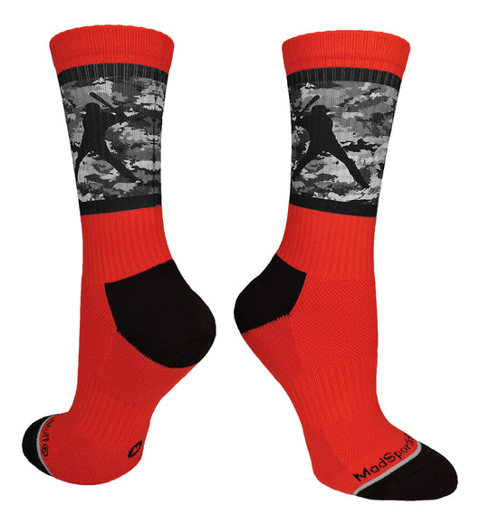 Baseball Socks with Player on Camo Background Crew Socks (Red/Black Camo, Large) - Red/Black Camo,Large