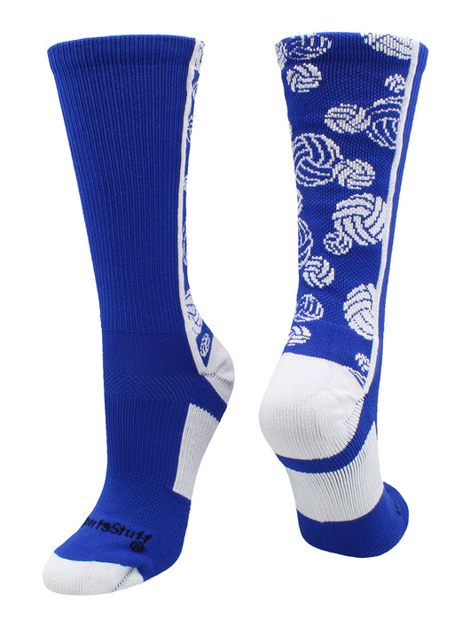 Crazy Volleyball Logo Crew Socks (Royal/White, Large) - Royal/White,Large
