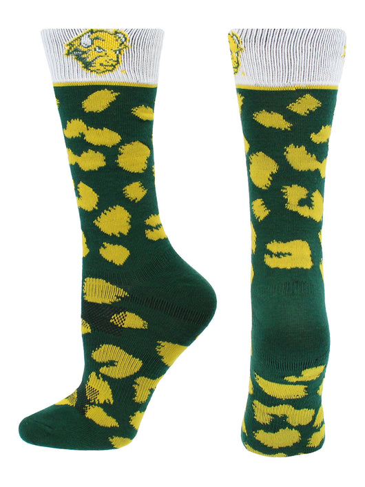 North Dakota State Bison Womens Savage Socks (Green/Yellow, Medium) - Green/Yellow,Medium