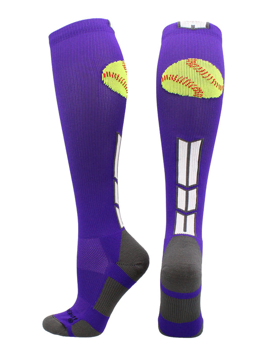 Softball Logo Over the Calf Socks (Purple/White/Graphite, Large)