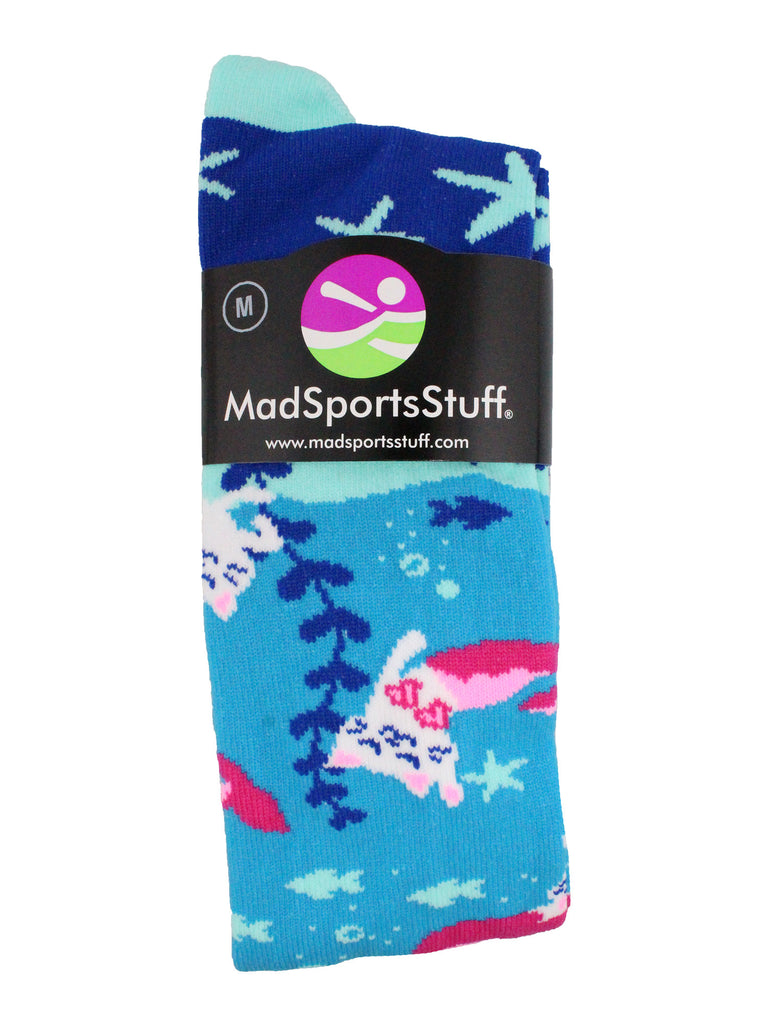 Half Cat Half Mermaid -  Purrmaid Athletic Over the Calf Socks