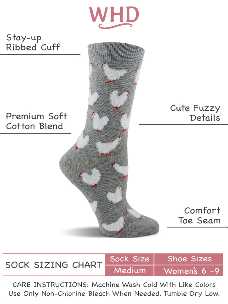 Chicken Socks for Women with Fuzzy Feather Chickens - Chicken Lovers Gift - 2-Pack