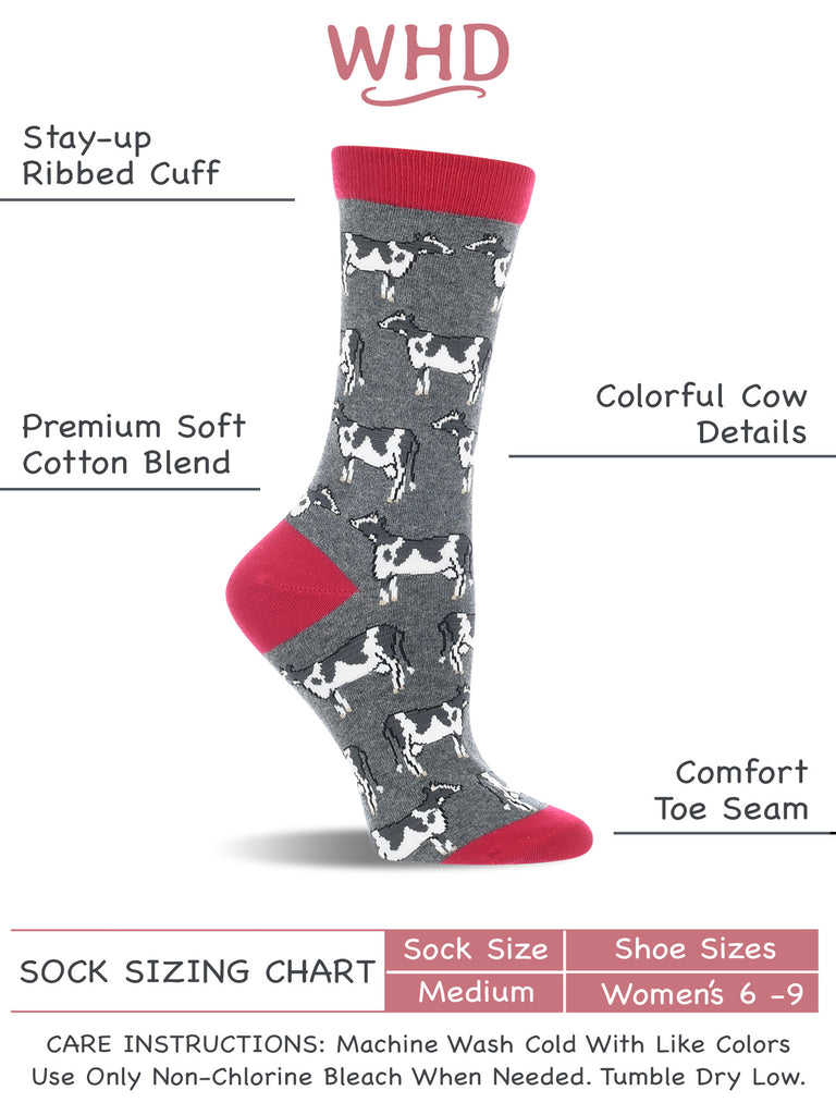 Cow Socks for Women - Cow Lovers Gift - 2-Pack