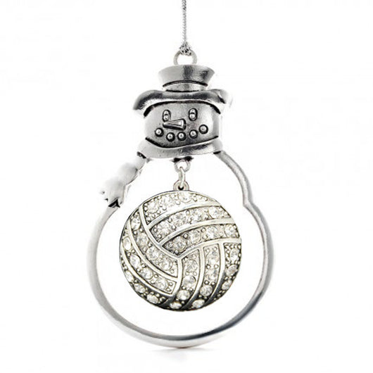 Christmas Volleyball Ornament with Crystal Volleyball Charm