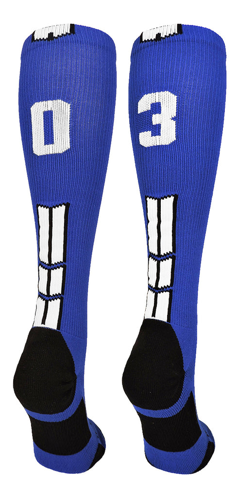 Player Id Jersey Number Socks Over the Calf Length Royal and White