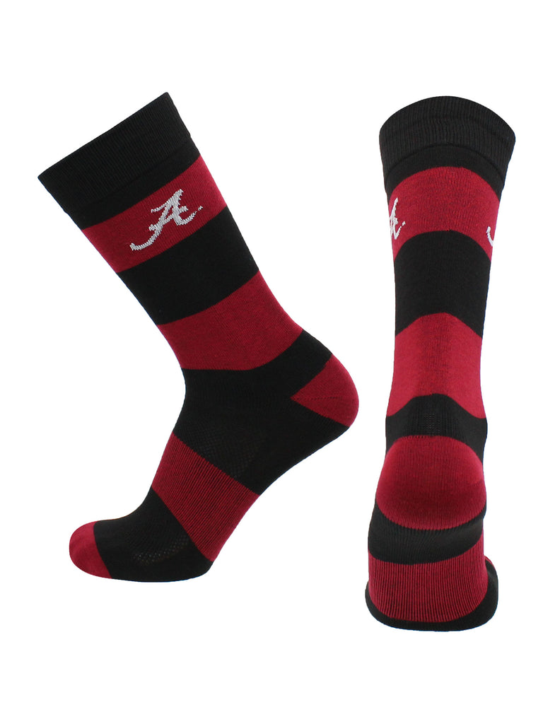 Alabama Crimson Tide Socks Game Day Striped Crew Socks