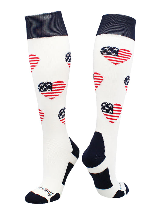 Love USA American Flag Heart Socks Over the Calf (White/Navy/Red, Large)