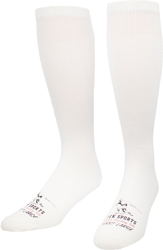 Flat Knit Sanitary Liner Baseball Socks (X-Large, White) - White,X-Large