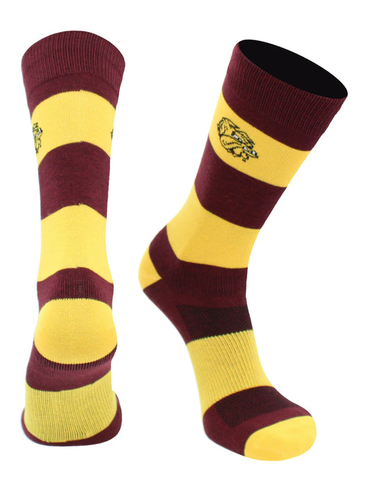 Minnesota Duluth Bulldogs Game Day Striped Socks (Maroon/Gold, Large) - Maroon/Gold,Large