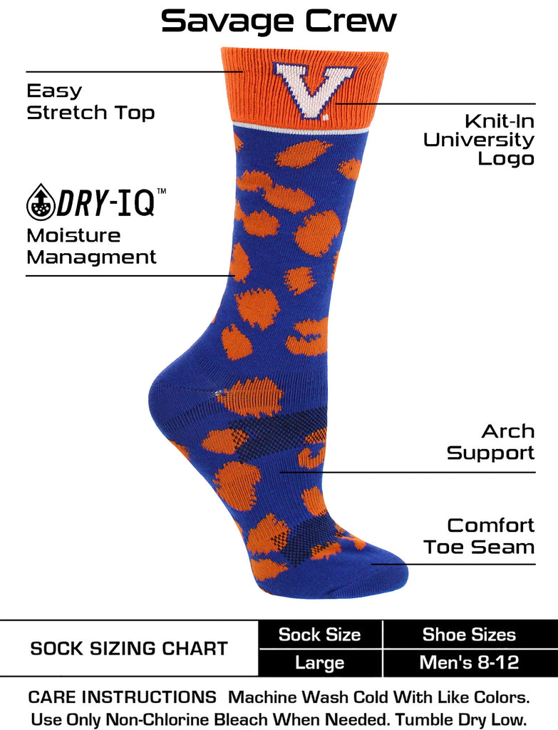 Virginia Cavaliers Socks Womens Savage Crew Socks