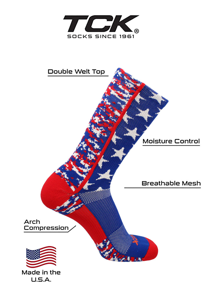 Digi Camo USA American Flag Socks Crew Length Basketball Football Lacrosse Volleyball