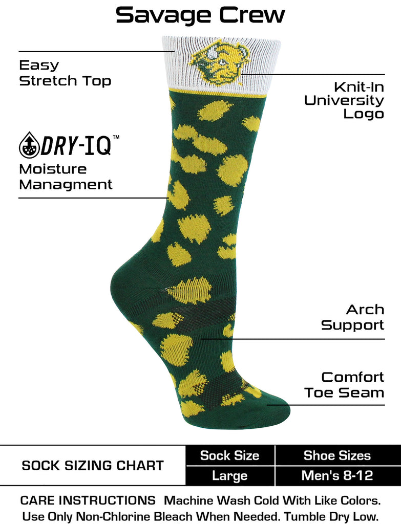 North Dakota State Bison Socks Womens Savage Crew Socks