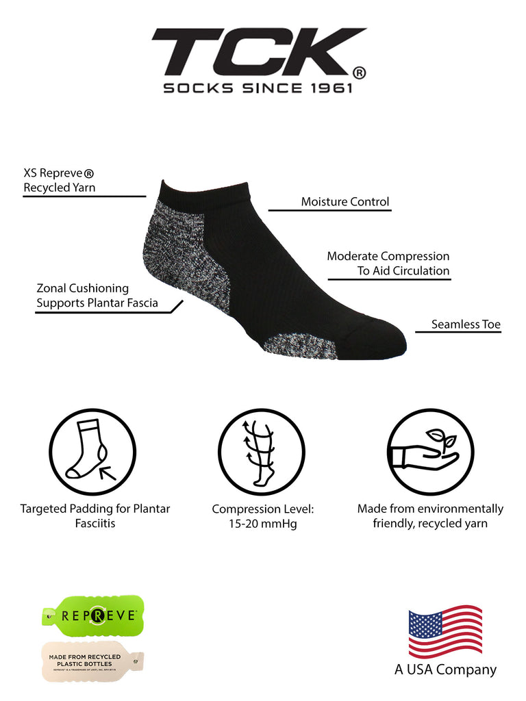 Men's Plantar Fasciitis No Show Running Socks with Arch Support 2 Pack - made from Recycled Materials