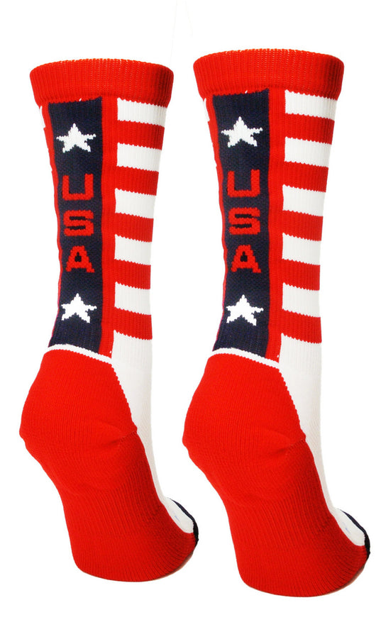 USA Pride Athletic Crew Socks (White/Red/Navy, Large)