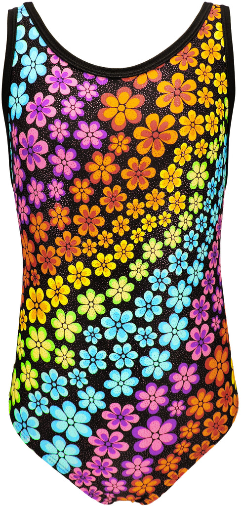 Tank Style Rainbow Flowers Girls Gymnastics Leotard