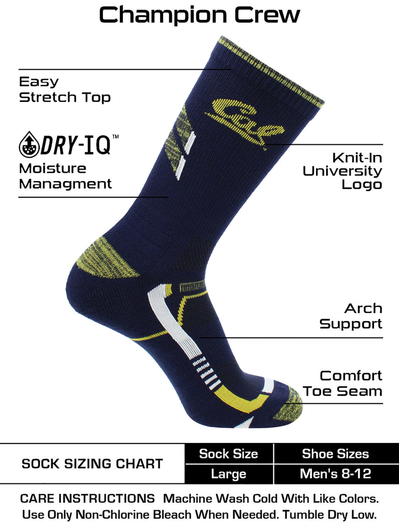Cal Bears Socks University of California Berkeley Golden Bears Champion Crew Socks