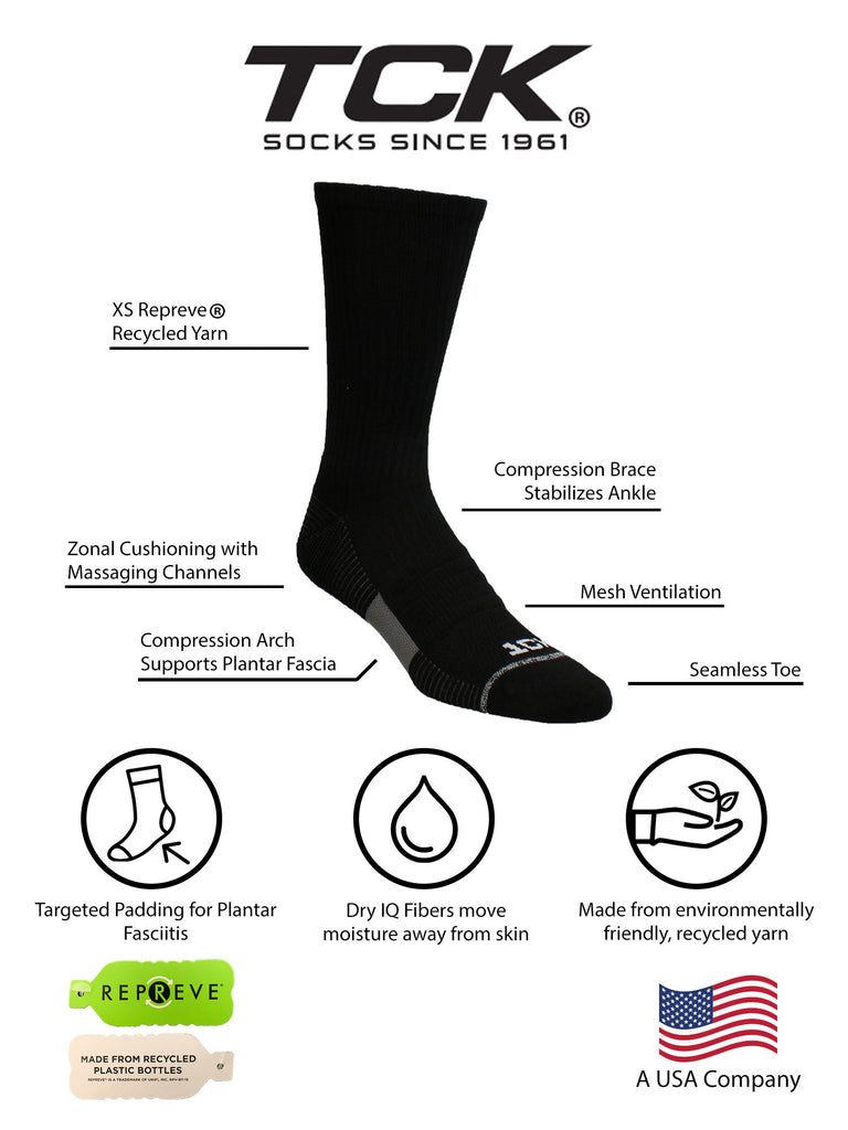 TCK Athletic Training Crew Socks - Basketball Football Volleyball 3 Pack- made from Recycled Materials