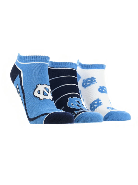 North Carolina Tar Heels No Show Socks Full Field 3 Pack (Carolina Blue/Navy/White, Medium)