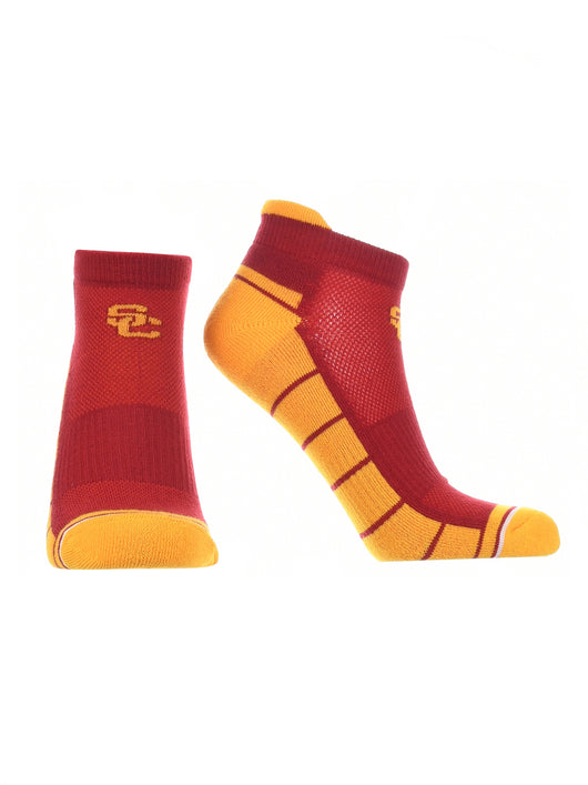 USC Trojans Low Cut Ankle Socks Tab (Red/Gold, Large) - Red/Gold,Large