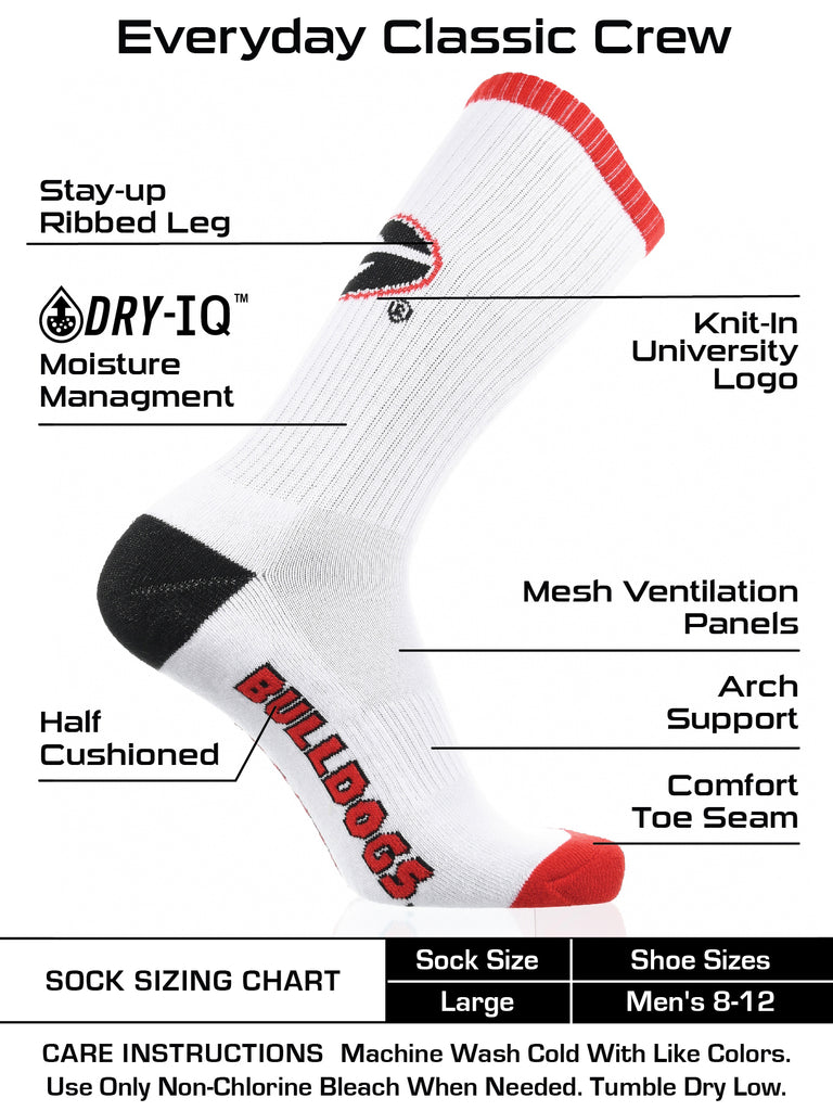 Georgia Bulldogs Socks Basic Crew White Socks