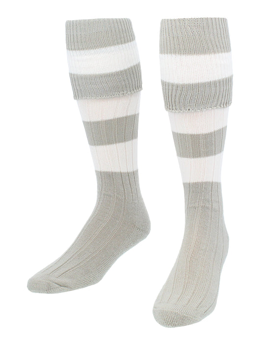 4 Stripe Hoop Soccer Rugby Socks (Grey/White, Large) - Grey/White,Large