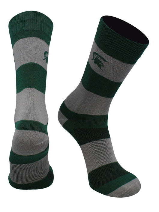 Michigan State Spartans Game Day Striped Socks (Green/Grey, Large) - Green/Grey,Large