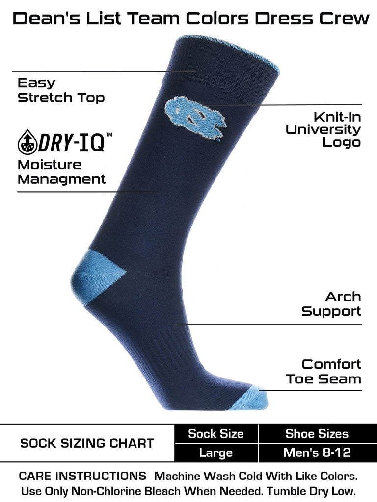 North Carolina Tar Heels Dress Socks Dean's List Crew Length Socks