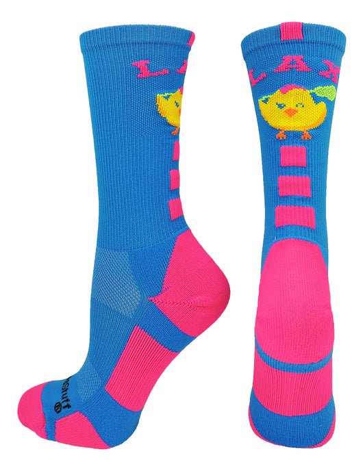 LAX Chick Crew Socks (Electric Blue/Neon Pink, Large)