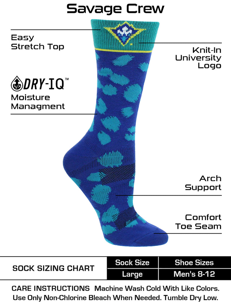 UNC Wilmington Seahawks Socks Womens Savage Crew Socks