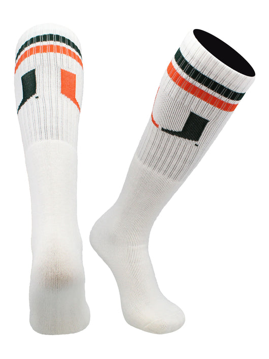 Miami Hurricanes Throwback Tube Socks (White/Green/Orange, Large) - White/Green/Orange,Large