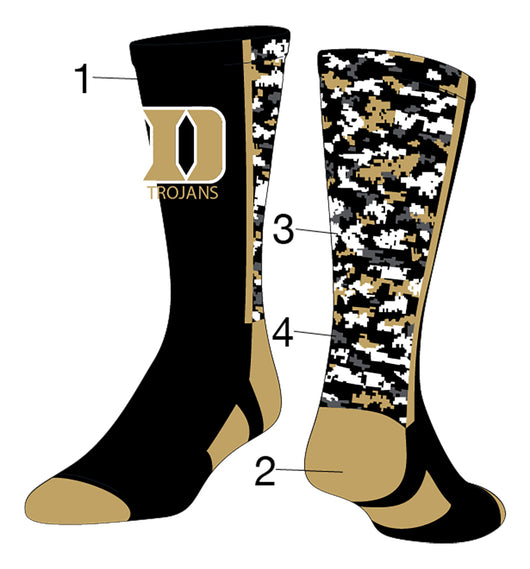 Custom Woodland Camo Crew Socks (Front/Accents/Camo1/Camo2, Large)