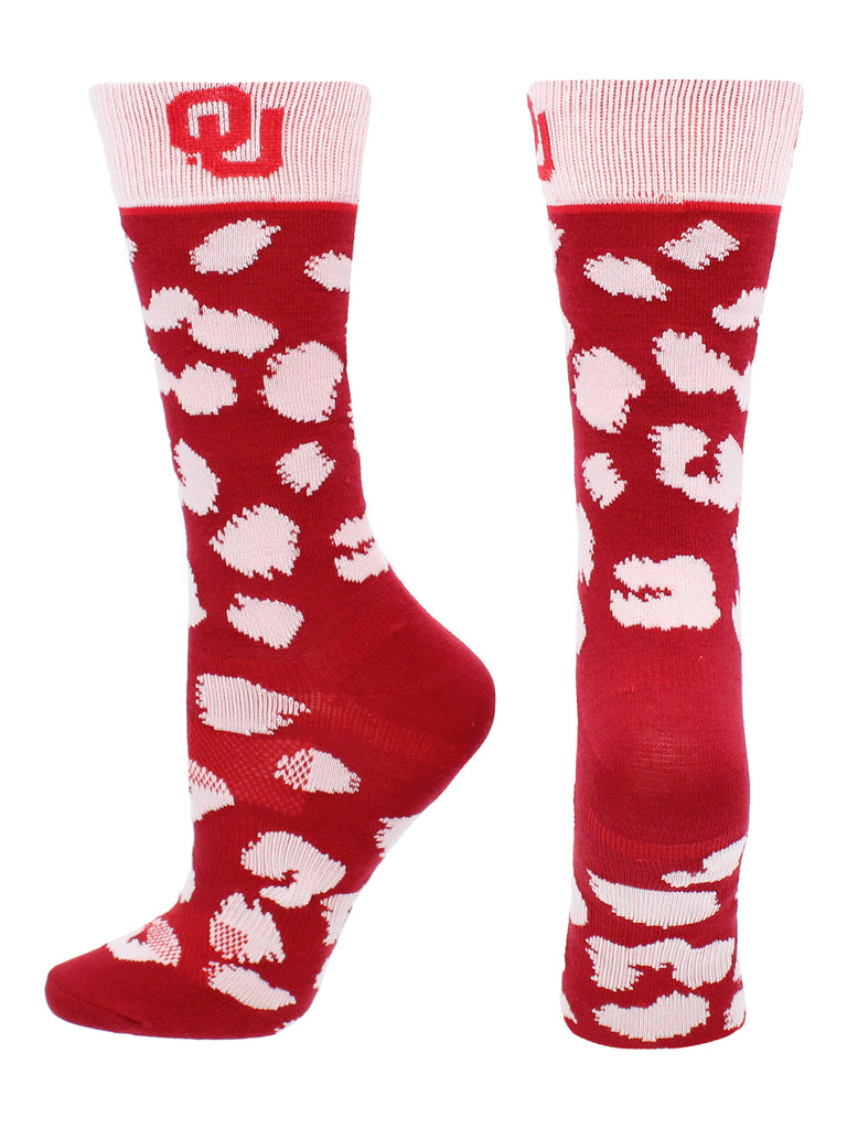 Oklahoma Sooners Socks Womens Savage Crew Socks