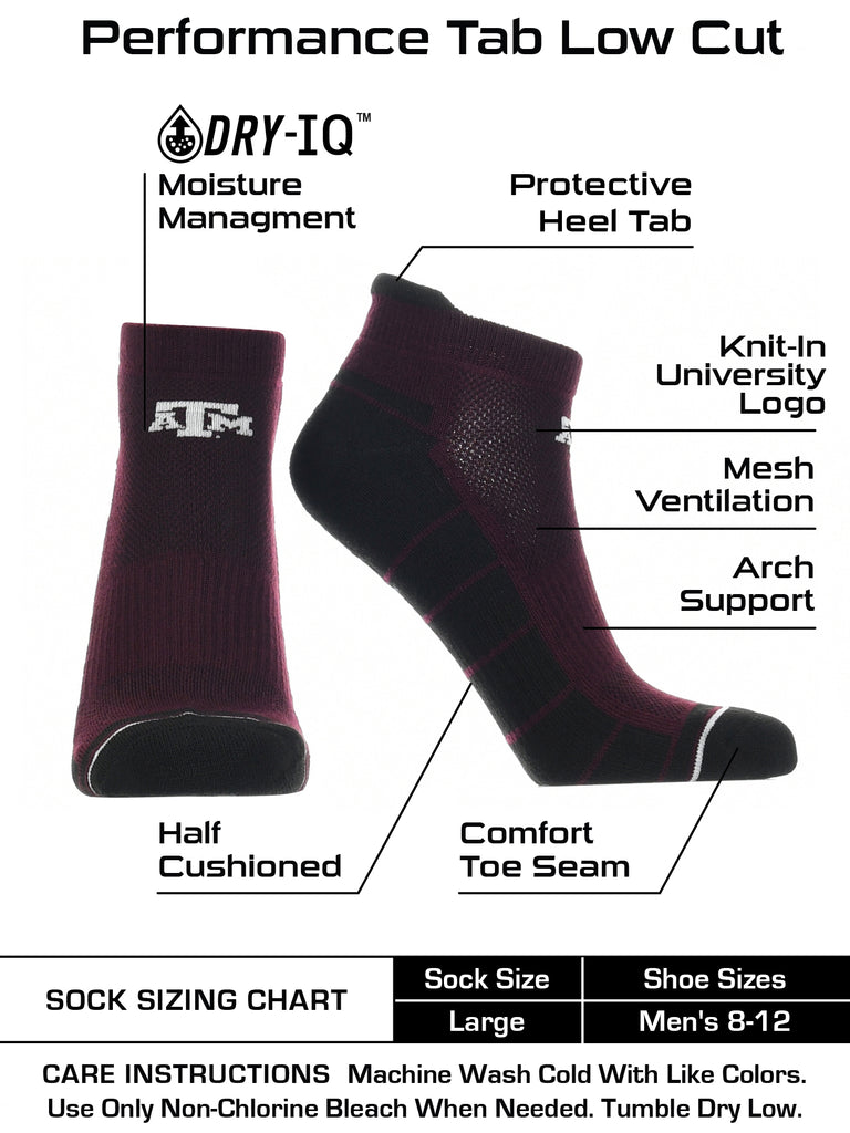 Texas A&M Aggies Low Cut Ankle Socks with Tab