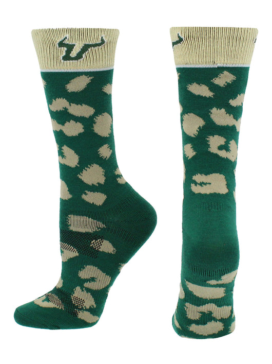 USF Bulls Womens Savage Socks (Green/Gold, Medium) - Green/Gold,Medium
