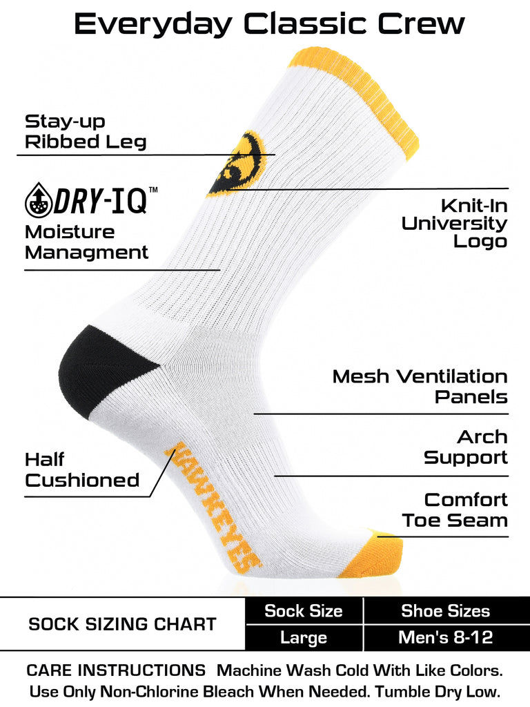 Iowa Hawkeyes Socks Basic Crew White Socks