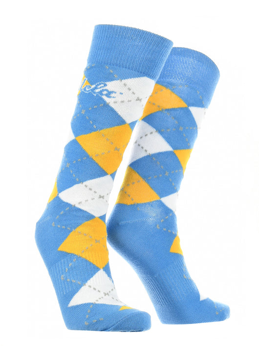 UCLA Bruins Argyle Dress Socks (Blue/Gold, Large)