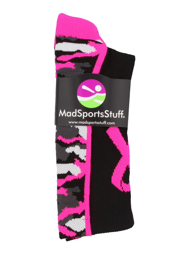 Pink Ribbon Breast Cancer Awareness Camo Athletic Crew Socks (multiple colors)