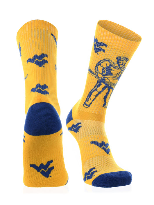 West Virginia Mountaineers Socks Sock Mayhem Crew (Gold/Blue, Large) - Gold/Blue,Large
