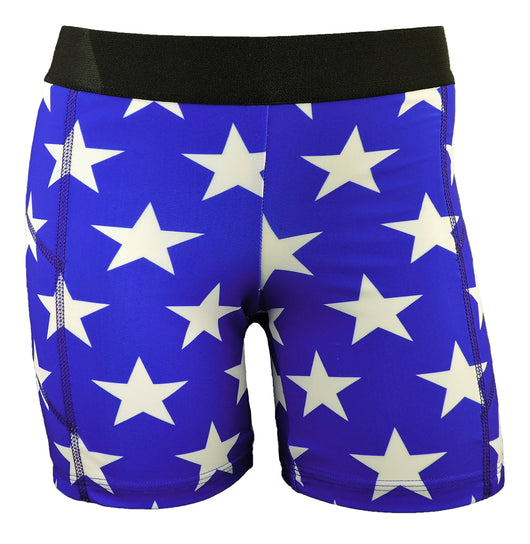 Pro Line Softball Sliding Shorts (Blue with White Stars, Small) - Blue with White Stars,Small