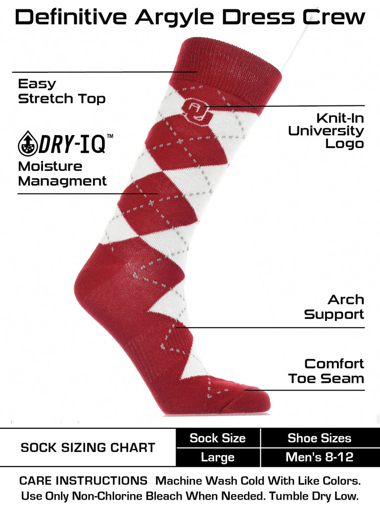 OU Oklahoma Sooners Argyle Dress Socks NCAA Fanwear Crew Length