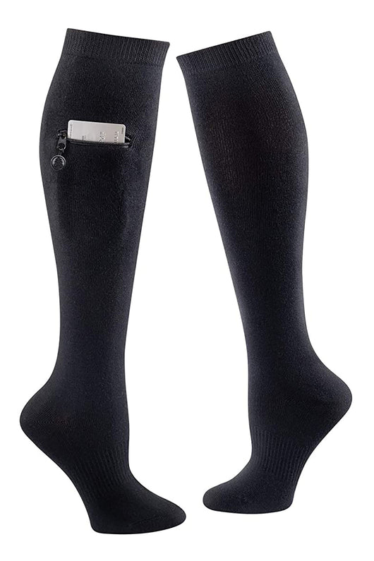 Knee High Socks with Pocket (Black, Medium) - Black,Medium