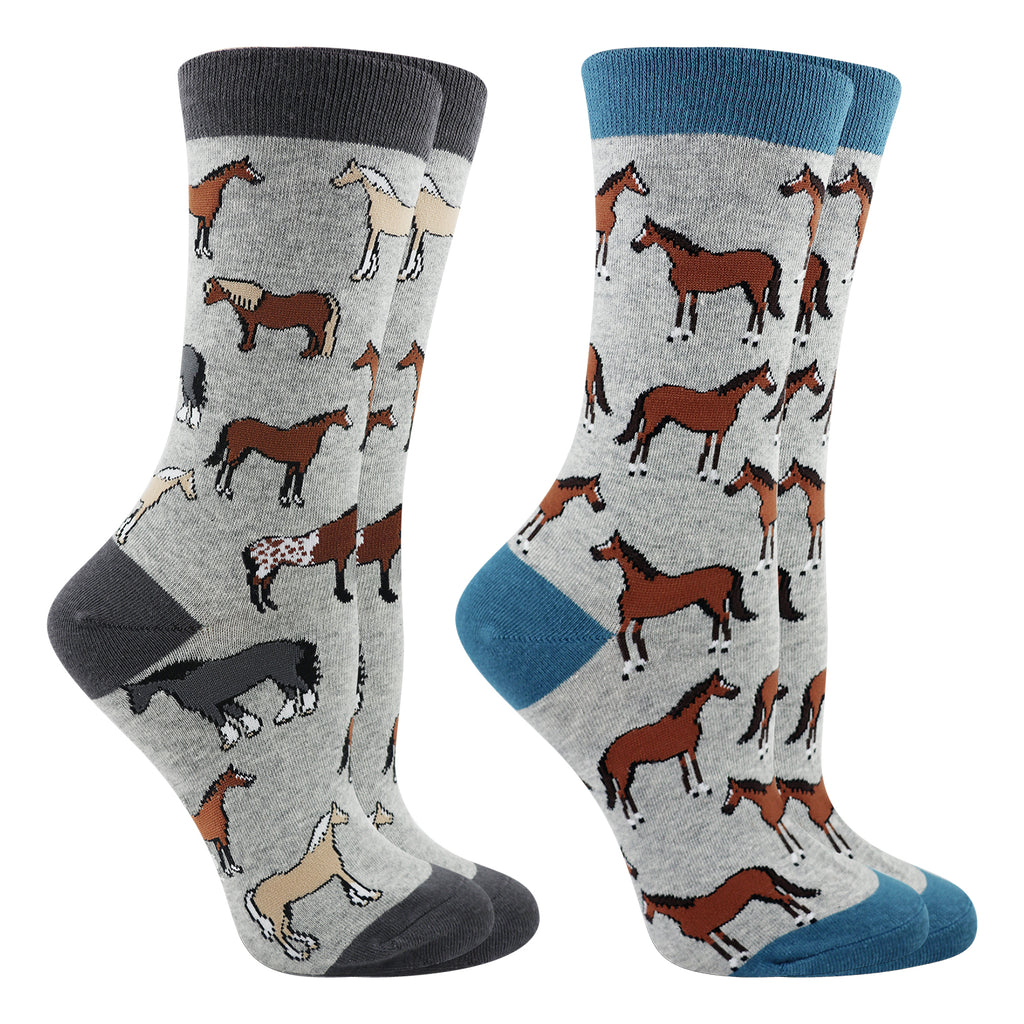 Horse Breed Socks 2-Pack (Gray Heather, Medium)