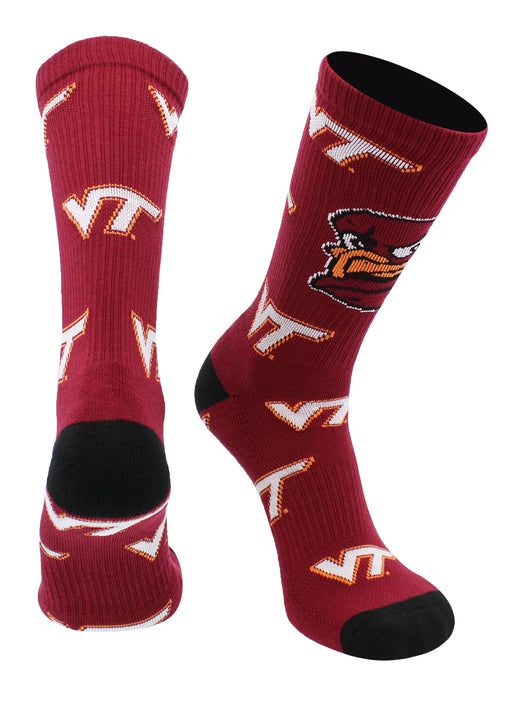 Virginia Tech Hokies Socks Mayhem Crew Socks (Maroon/Black/Orange, Large) - Maroon/Black/Orange,Large