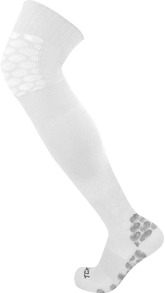Defender Over the Knee Football Socks (White, Large) - White,Large (9-12 Shoe Size)