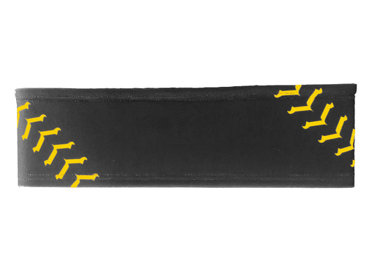 Softball Stitch Headband (Black/Gold, One Size)