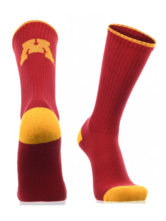 Minnesota Golden Gophers Socks Campus Legend Crew (Maroon/Gold, Large) - Maroon/Gold,Large
