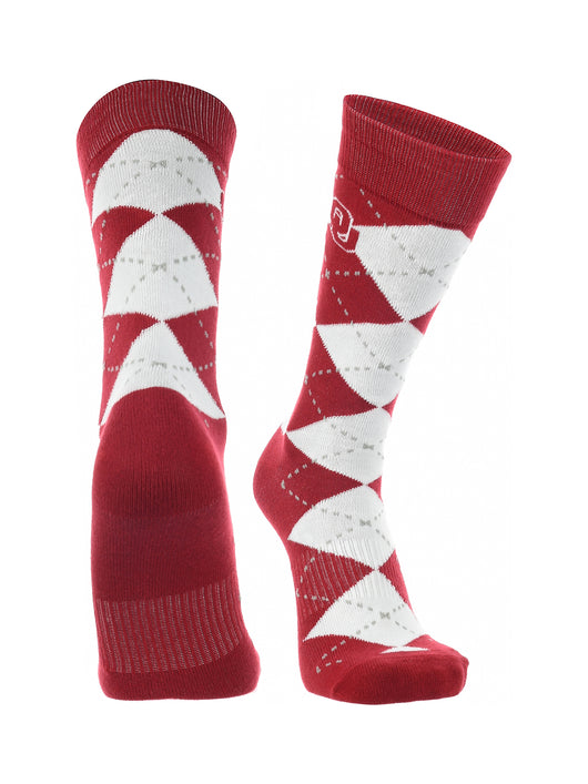 Oklahoma Sooners Argyle Dress Socks (Crimson/White, Large)