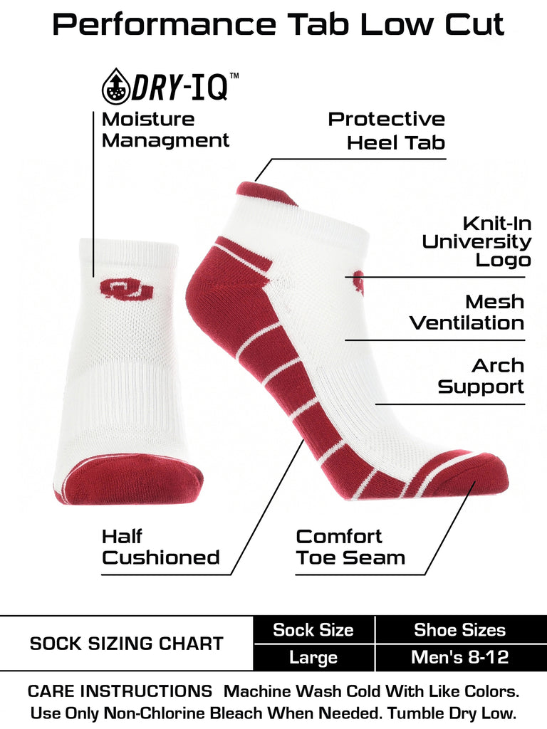 OU Oklahoma Sooners Low Cut Ankle Socks with Tab