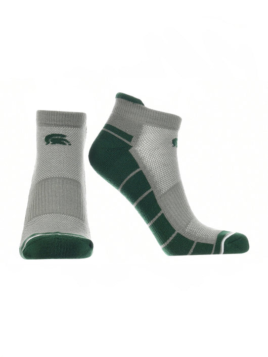 Michigan State Spartans Low Cut Ankle Socks Tab (Grey/Green, Large)